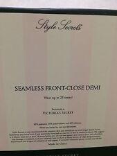 VICTORIAS SECRET Seamless Front Close Demi Size B Black Color Brand New In Box