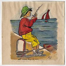 """Ancien dessin """"Le vieux loup de mer"""" Illustration enfantine Crayon et aquarelle"""