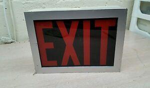 Vintage Exit Sign Metal Box Glass red black
