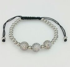 Men Women 316L Stainless Steel Cz Stones Ball Beaded Bracelet