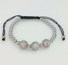 Men Women 316L Stainless Steel Cz Stones Ball Beaded Bracelet