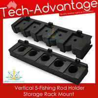 BLACK 5-ROD VERTICAL FISHING ROD HOLDERS STORAGE RACK - BOAT/YACHT/GARAGE