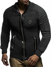 Leif Nelson(Germany) Designer Knitted Jacket Cardigan Smoke Black Men XLarge NWT