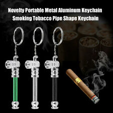 Novelty Portable Metal Aluminum Keychain Smoking Tobacco Pipe Shape Keychain ED