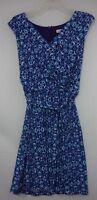 Coldwater Creek Womens sz 6 Blue/Purple Floral Sleeveless V-Neck Dress w/ Tie