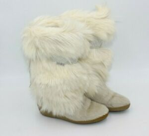Tecnica White Goat Fur Boots Ivory Ski Embroidery Womens Size 39 Vintage Fuzzy