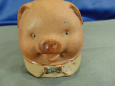 "Pig bell unique art piece small red clay 4 1/2"" Uct Japan hand painted tag vtg"