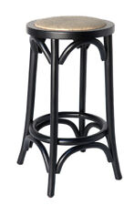 Classic French Design Natural American Oak Timber Black Bar Stool - 2 Pieces