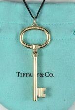 $2,900 Tiffany & Co XL Keys 18K Yellow Gold Oval Pendant 16'' Silk Cord Necklace