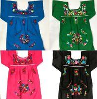 KIDS MEXICAN ARTESENAL DRESS VESTIDO EMBROIDERED GIRLS Pink Blue Black SZ 3-8