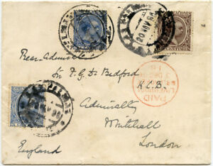 CANARY ISLANDS 1896 R.ADMIRAL BEDFORD WHITEHALL via LIVERPOOL BR PACKET SHIP PMK