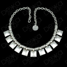 Silver Choker Necklace Large Drop Square Beads Turkish Ottoman Boho Gypsy Ethnic