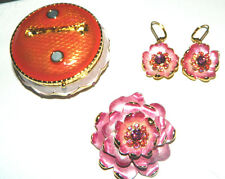 NIB Joan Rivers Enamel PINK ROSE PIN BROOCH+Earrings TRINKET BOX Set