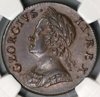 1746 NGC MS 62 George II 1/2 Penny Great Britain Mint State Coin (19072301C)