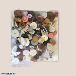Lot Vintage Antique  METAL  Wood +  Fabric Buttons - ESTATE SALE  PINK ANCHOR