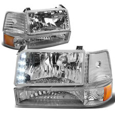 [LED DRL] Fit 1992-1996 Ford F150/F250/F350 Chrome Amber Bumper Headlights/Lamp