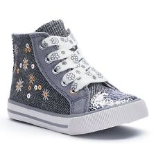 Jumping Beans Toddler Girls' Sequin High-Top Sneakers Gray Canvas Laces sz 5 new
