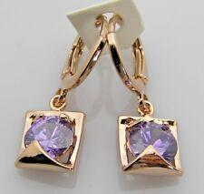 18K Rose Gold Filled Purple CZ Geo Women/Teens Pierced Drop/Dangle Earrings Wrap
