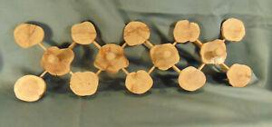 MCM hand made wood Craft Rack hobby finnpine Finland 4 hooks craft stumps art