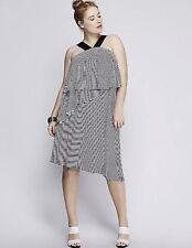 Lane Bryant NWOT Tiered Striped Woman's Plus Sz 22/24 Stretchy White/Black Dress