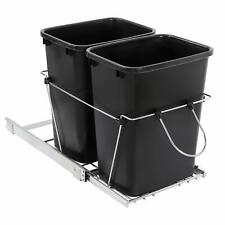 Pull Out Trash Kitchen Under Cabinet Waste Container Double Garbage Can 35 Quart