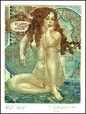David Bekker 1999 Exlibris C4 Erotic Nude Nudo Woman Cartography Globus Map 701