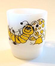 Vintage Fire King White Glass Mug w/ Inchworm & Spotted Mushroom Hildi