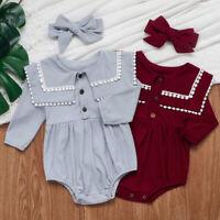 Newborn Baby Boutique Tops Plain Girls Jumpsuit Romper+Headband Kids Bodysuit