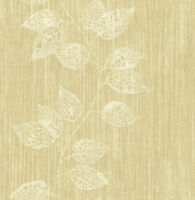 Tapete, Designtapete, Stoff, Struktur, Blätterranken, Schimmer, Beige, Honiggold