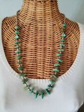 Santo Domingo Turquoise Nugget  Heishi Necklace Sterling Bead