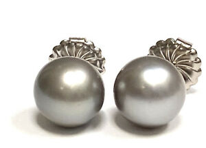 11.5 mm Round Tahitian South Sea Pearl Stud Earrings Silver Color 14K White Gold
