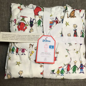 Pottery Barn Adult Size Large The Grinch Themed Flannel Pajama's Christmas NWT
