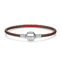 925 Sterling Silver Clasp Brown Leather Barrel Bracelet fit European Charm Bead