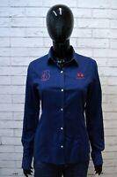 Camicia Maglia Donna LA MARTINA Taglia M Blusa Blu Slim Shirt Woman Manica Lunga