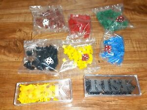 #L) Vintage 1980's Risk Board Game Replacement Parts; Pieces, Dice
