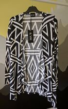 Ladies, B. You - waterfall cardigan, size 12, white with black modern pattern