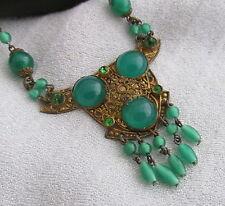 Old Czechoslovakia Neiger Brass&Jade Green Glass Bead Egyptian Pendant Necklace