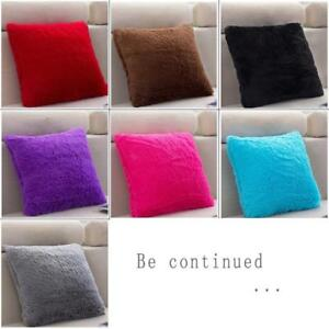 Home Soft Plush Square Pillow Case Sofa Waist Throw Cushion Cover Decor QK