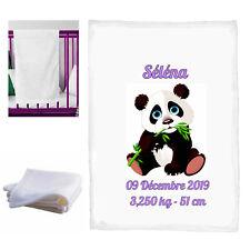 couverture bébé panda personnalisé naissance baptème prenom réf 33