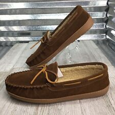 Minnetonka Brown Suede Slipper Moc Comfort Out Door Mens Shoe Size 11