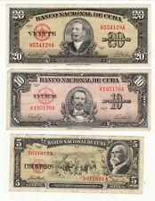 REPUBLIQUE DE CU BA10/20 PESOS 1949  5 PESOS 1958  los de trois billets