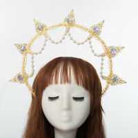 Lolita Girls Halo Pearl Beads Crown Headband Party Fancy Dress Costume Headwear