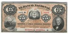 ARGENTINA PROOF BANCO NACIONAL 75 CENTAVOS 1873 XF+  P.s 648p  BAUMAN  BN-53p