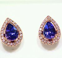 2.42CT 14K Gold Natural Tanzanite Diamond Vintage AAAA Engagement Earrings Halo