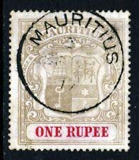 MAURITIUS 1902 1 Rupee Grey & Carmine Watermark Crown CC SG 55 VFU