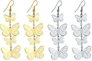 Butterfly Drop Earrings. Gold or Silver. Fashion Women Butterflies Jewellery