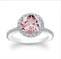 2.63 Ct Natural Morganite Engagement Gemstone Ring 14K White Gold Ring Size P O