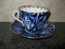 Vintage Tea Cup & Saucer ~ Lomonosov Russia Cobalt Blue w/ Gold Trim Floral