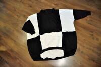 Lagenlook Big-Ballon-Pulli Kragen black & white 46,48,50,52,54,XXL,XXXL,XXXXL