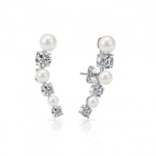 White Pearl Climber Earrings Created with Swarovski® Crystals by Philip Jones